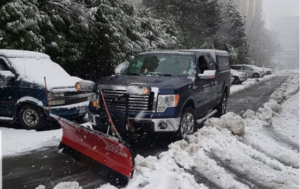 snow removal car on road